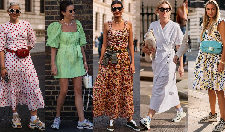 how to wear dress with sneakers
